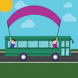 Design business concept Empty copy space modern abstract background. Two Kids Inside School Bus Holding Out Banner with Stick on a Day Trip