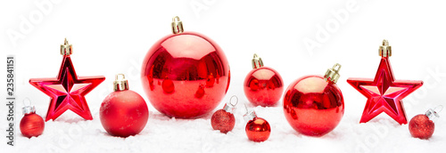 Foto Murales Red christmas holidays decoration on a white background