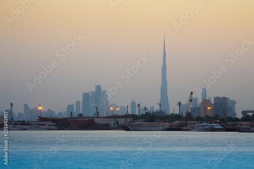 fototapeta na ścianę sunset in Dubai city view, United Arab Emirates