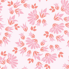 Pink Flowers Seamless Vector Repeat Floral Pattern Background