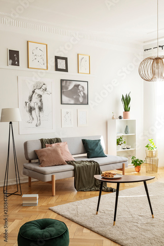 Leinwanddruck Bild Posters above settee with pillows in bright living room interior with pouf next to table. Real photo