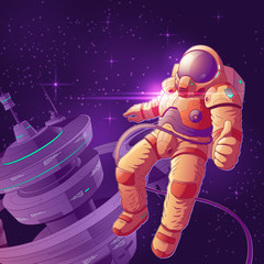Space tourist having fun on orbit cartoon vector illustration. Astronaut in futuristic spacesuit working near starship, flying in weightlessness and showing thumbs up sign. Space explorer or traveler
