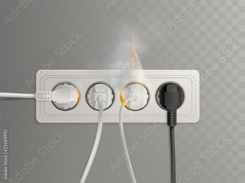 Flaming Plugs In Horizontal Electrical Socket Realistic Vector Ilration Isolated On Transpa Background Short