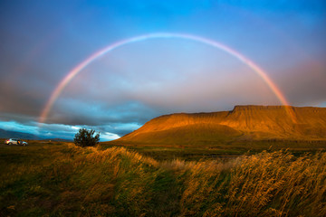 Landscape with rainbow - Iceland