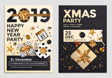 Christmas Party Flyer Design- golden design 2019