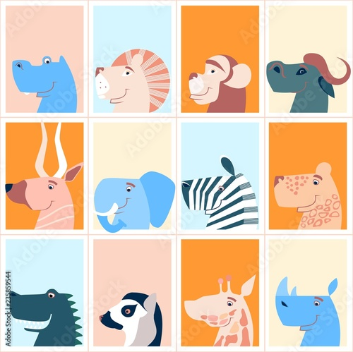 Cute animals. Colorful cute monthly calendar. Can be used for web,banner,poster,label and printable. Vector.