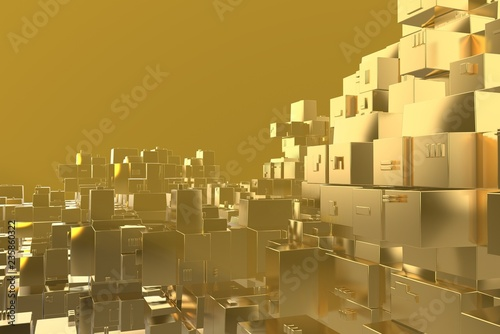 Wealth rich concept idea Golden city at sunset rays Abstract space background.3D illustration rendering - 235860322