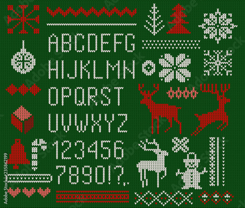 Set of knitted font, elements and borders for Christmas, New Year or winter design. Ugly sweater style. Sweater ornaments for scandinavian pattern. Vector illustration. Isolated on green background.