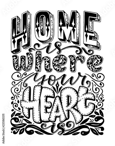 calligraphy image. Hand drawn lettering poster, vintage typography card about home.-Dishwasher Magnet Skin (size 24x24)