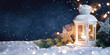 Christmas Lantern On Snow With decorations. New Year's card