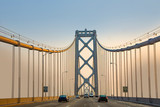 crossing the New bay suspension bridge in San Francisco in late afternoon