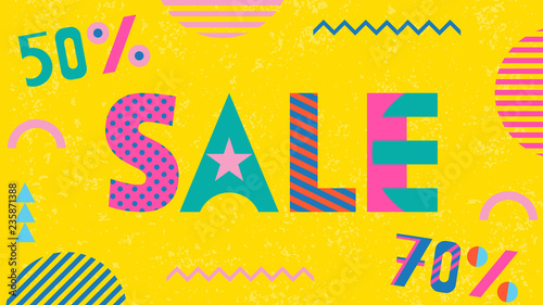 7e1498193542b SALE 50% and 70%. Trendy geometric font in memphis style of 80s-90s ...