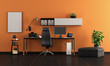 Black and orange home office