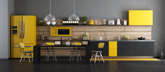 Black and yellow modern kitchen © archideaphoto