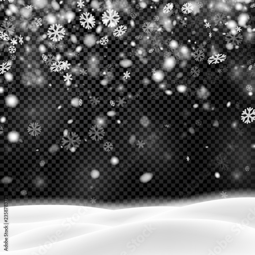 Background with winter landscape and snowflakes for seasonal, Christmas and New Year decoration.