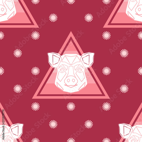 fototapeta na ścianę Polygonal head of a Pig. Symbol of year. Seamless background. Graphic element for design. Can be used for wallpaper, textile, invitation card, wrapping, web page background.