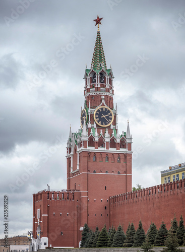 Kremlin Spasskaya Tower at Red Square in Moscow