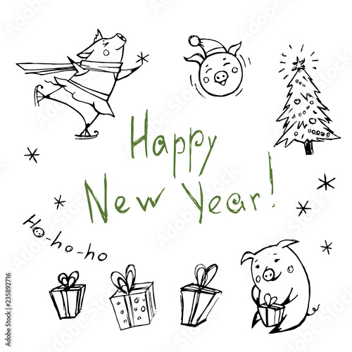 Vector set of sketches of pigs on winter holidays.