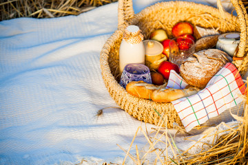 Bread, milk and apples in a basket.