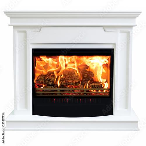Leinwandbild Motiv Burning gas fireplace isolated on white background