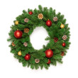 Christmas tree branches in a circle frame isolated on white background with copy space for text. Round wreath fir with Christmas toy balls and fir cones. Flat lay