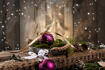 Christmas nature background with nature decoration.