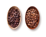 coffee beans in wooden bowls isolated on white