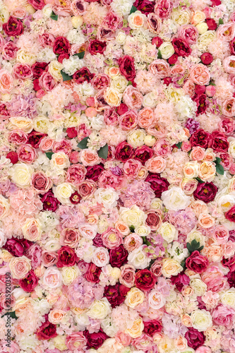 Many various pink, red and white flowers abstract pattern backgrounds - 235920350