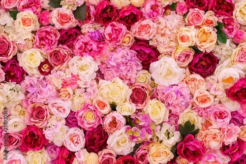 Many various pink, red and white flowers abstract pattern backgrounds - 235920369