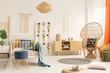 Natural materials in boho bedroom interior, real photo