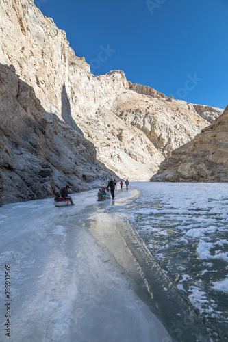 The Chadar Trek or the Zanskar Gorge is a winter trail in the Zanskar region of Ladakh, in the Indian state of Jammu and Kashmir.
