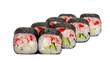 Japanese rolls, sushi on a white background