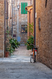Old street of medieval town Pienza are decorated with flowers in the flowerpots, Italy