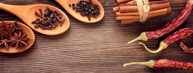 Various fragrant Herbs and Spices over wooden background © Chepko Danil