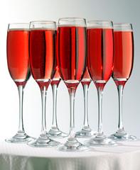 SEVEN PINK CHAMPAGNE GLASSES