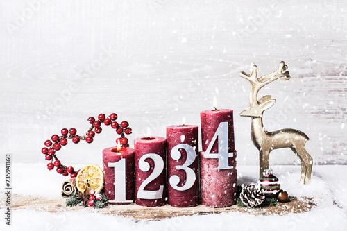 Adventsgesteck Kerzen rot  - 235941160