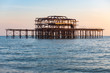 The ruins of Brighton's famous West Pier, UK, on a beautiful winter day