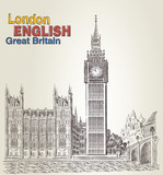 Postcard with retro vector Big Ben. Engraving