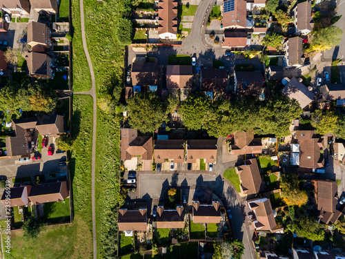 Aerial view of St Mellons Town in Cardiff, Wales UK - 235956939