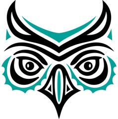 Eulenkopf im Haida Tattoo Style. Eulengesicht. Eule.