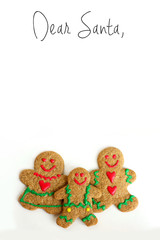 Christmas Gingerbread Cookie Family on White Background with Dear Santa Letter Header at Top