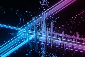 3D render of futuristic city. Big data.