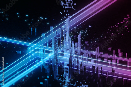 3D render of futuristic city. Big data. - 235966768