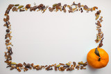 Frame of mulled wine ingredients, mandarine on white background. Flat lay, top view Christmas or New Year holiday concept