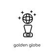 Golden globe icon. Trendy modern flat linear vector Golden globe icon on white background from thin line Cinema collection