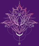 Filigrane Lotus Blume mit Mustern und Verzierungen. Lotusblume mit kleinem Mond, Spiralen und Om Symbol. Design für Yoga, Meditation und Wellness.