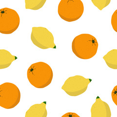 Seamless lemon and orange pattern on white background. Hand drawn citrus illustration with fruits. Template for print, design, postcards, poster, party, summer background, vintage textile. Vector. © Olga