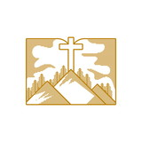 Church logo. Christian symbols. Mountains and a cross on the background of an open bible.