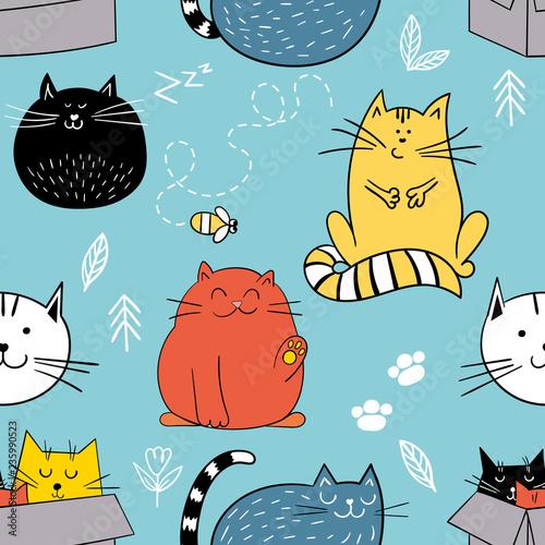 fototapeta na ścianę Seamless pattern with funny cats