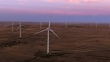 Aerial shots of a wind farm near Calhan in Colorado around sunset - 236018143